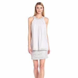 Jessica Howard Women's Beaded Neck Popover Dress